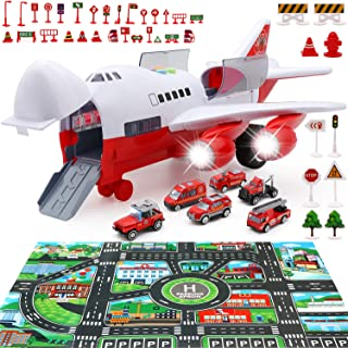 PETUOL Car Toys Set with Transport Cargo Airplane, Educational Vehicles Fire Fighting Car Set for Kids Toddlers Child Gift for 3 4 5 6 Years Old, Large Play Mat, 6 Trucks Large Plane 11 Road Signs