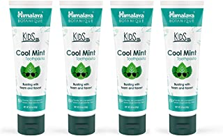 Himalaya Botanique Kids Toothpaste, Cool Mint Flavor to Reduce Plaque and Keep Kids Brushing Longer, 4 oz, 4 Pack