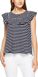 French Connection Women's Frill Babydoll TEE, Nocturnal/Summer WHI
