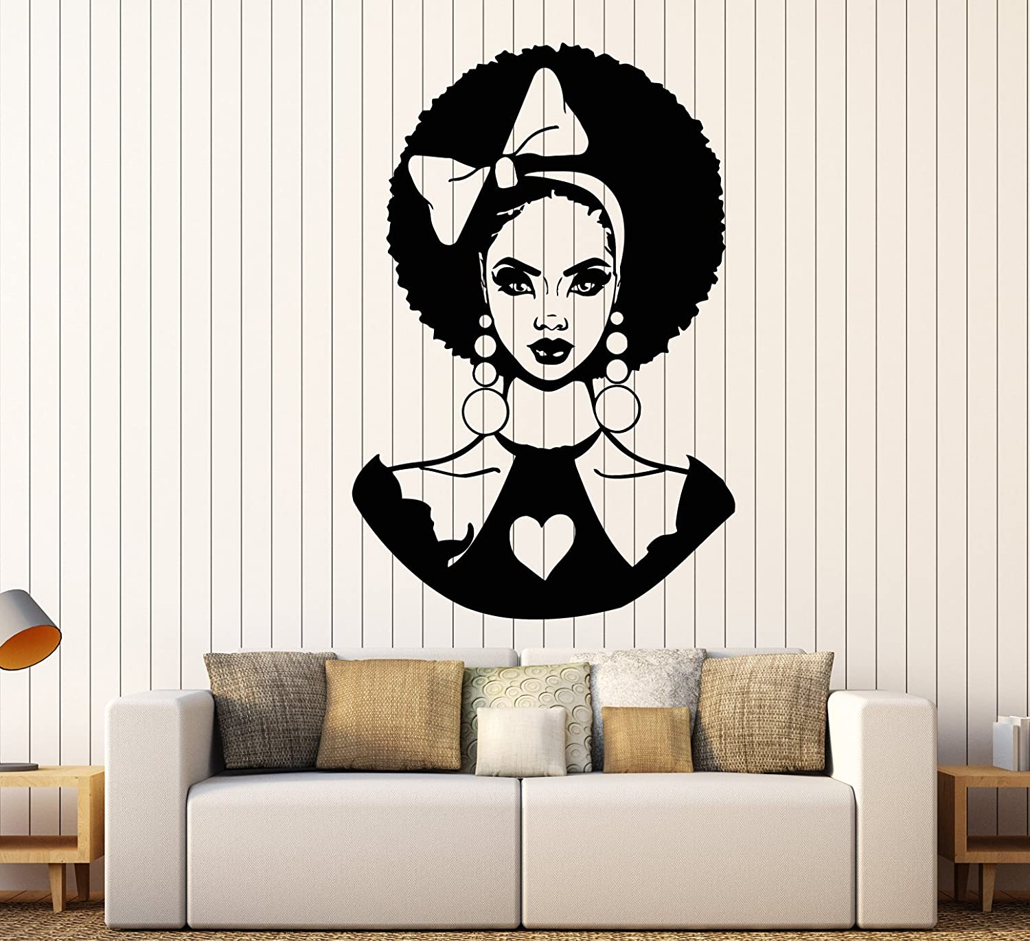 Vinyl Wall Decal African San New Shipping Free Shipping Jose Mall Woman Stickers Hairstyle Bow Lady Black