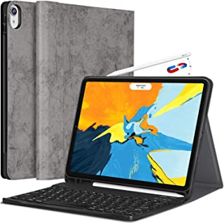 iPad Pro 11 Case with Keyboard - Detachable Wireless Keyboard [Support Apple Pencil Charging] - PU Leather Folio Stand Cover with Pencil Holder for iPad Pro 11 Inch 2018, Gray