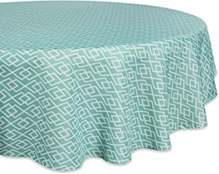 """DII CAMZ36773 100% Polyester, Spill Proof, Machine Washable, Tablecloth for Outdoor Use, 60"""" Round, Aqua Diamond, Seats 4 ..."""