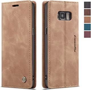 Samsung Galaxy S8 Case,Samsung Galaxy S8 Wallet Case Cover, Magnetic Stand Flip Protective Cover Leather Flip Cover Purse Style with ID & Credit Card Slots Holder Case for Samsung Galaxy S8 (Brown)