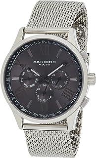 Akribos Xxiv Men's Grey Dial Mixed Band Watch - Ak971Gn-S, Analog Display, Quartz Movement