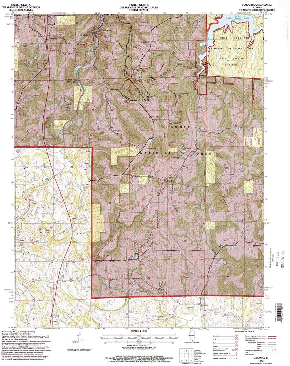 Makanda IL topo map, 1 24000 Scale, 7.5 X 7.5 Minute, Historical, 1996, Updated 1998, 26.63 x 21.97 in
