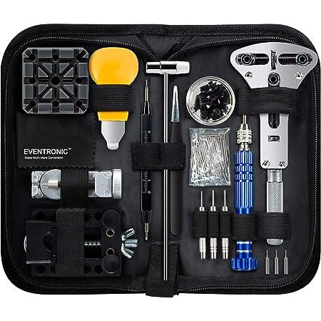 Eventronic Tool Kit Professionale di Riparazione Orologi, Attrezzi di Apertura Orologi e kit di Riparazione Orologio e portable tool kit orologiaio
