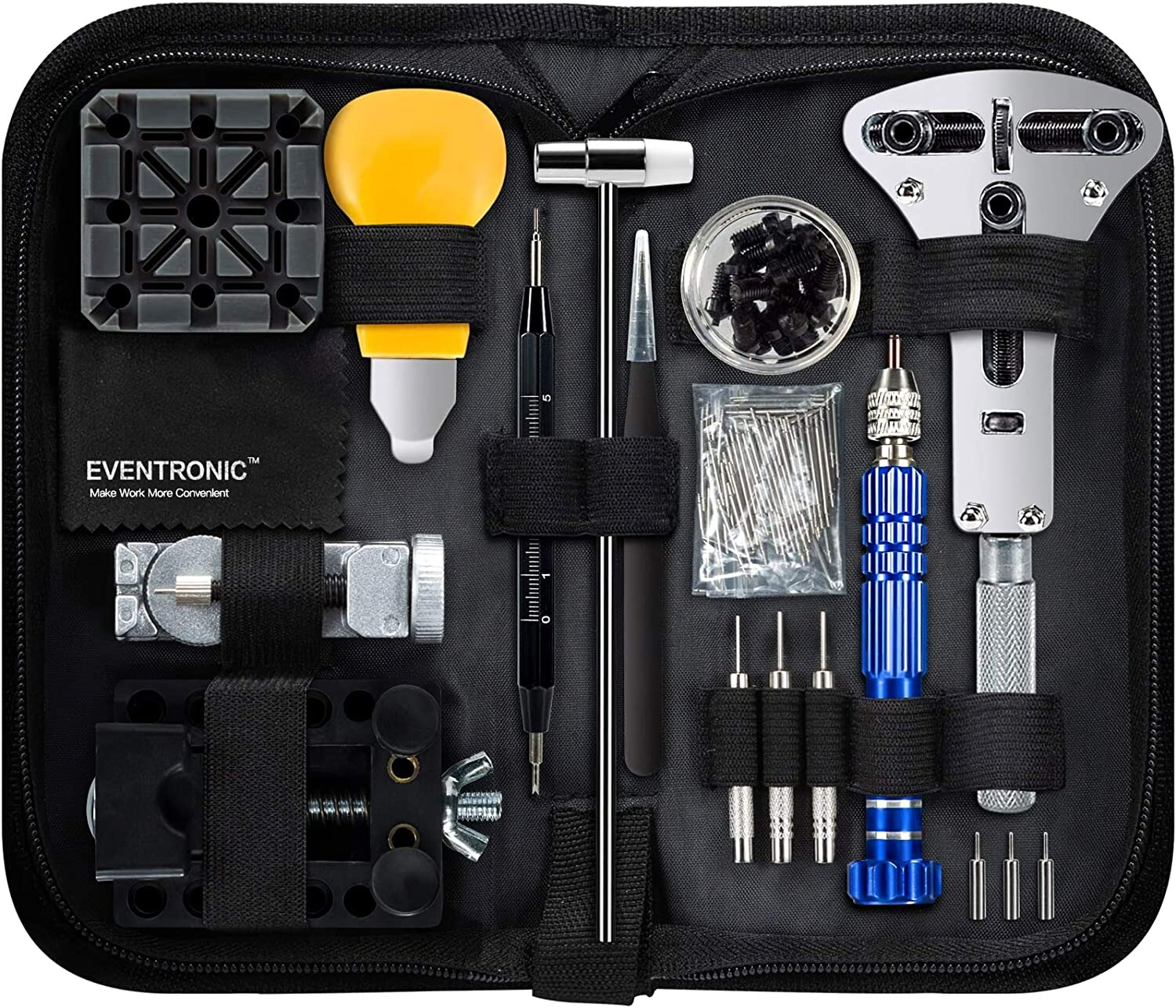 112 PCS Watch Repair Kit, Eventronic Professional Spring Bar Tool Set Watch Band Link Pin Tool Set with Carrying Case