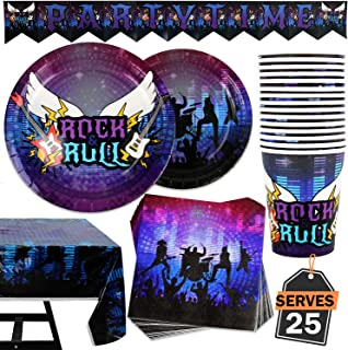 102 Piece Rockstar Party Supplies Set Including Banner, Plates, Cups, Napkins, and Tablecloth, Serves 25