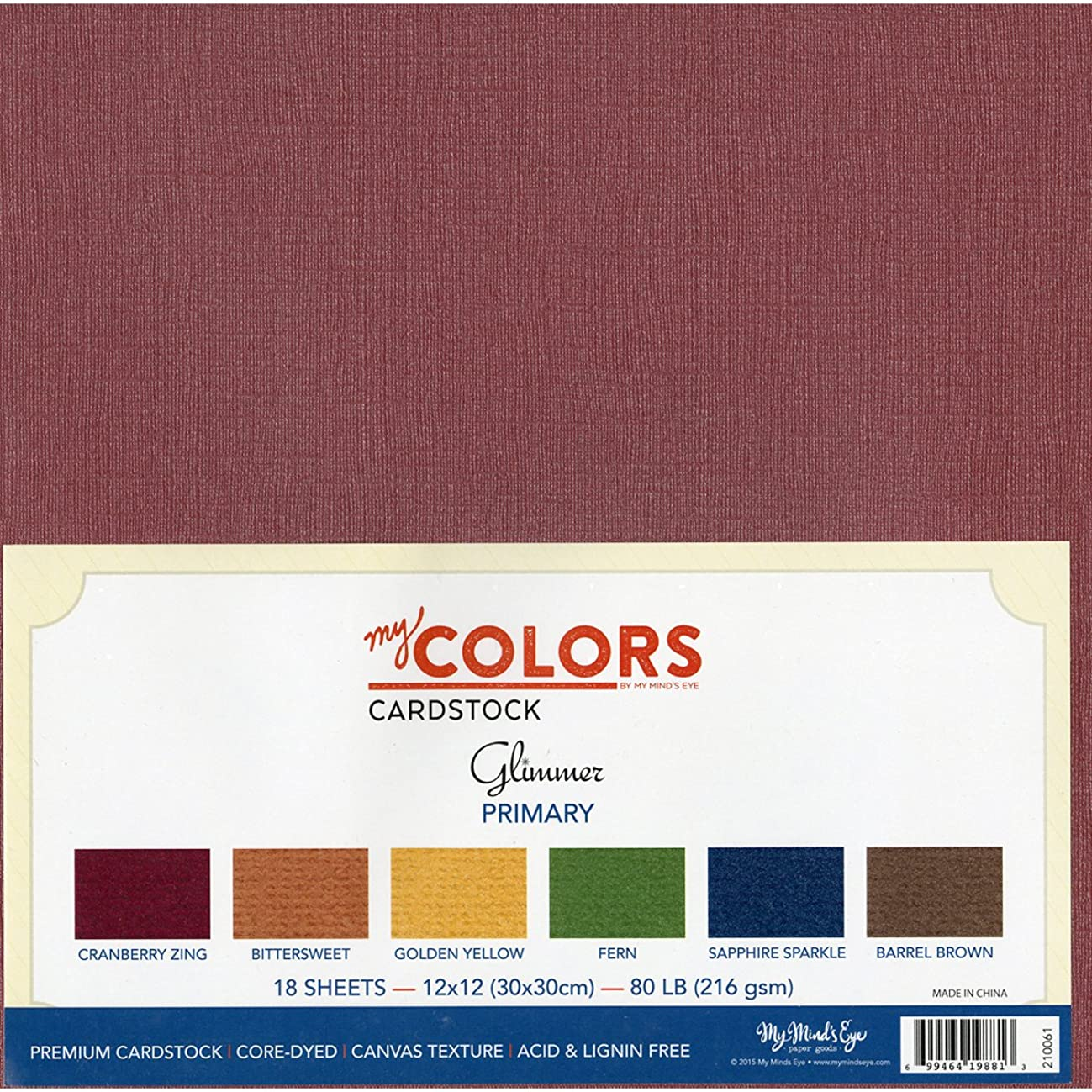 My Colors 210061 Primary Glimmer Cardstock Bundle (18 Pack), 12