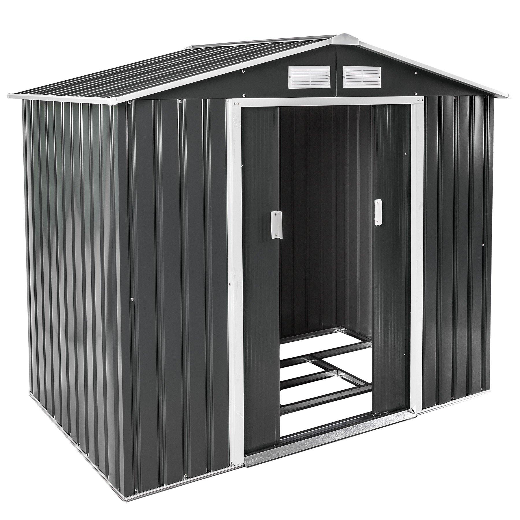 Deuba Cobertizo de metal de 5 m/² Antracita con marco de suelo techo con aperturas aeraci/ón almacenaje exterior de jard/ín