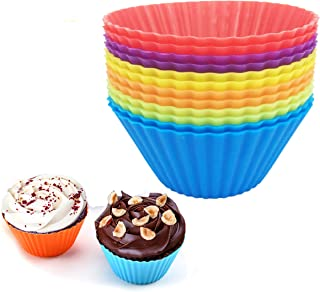 Reusable Silicone Cupcake Baking Cups 12 Pack, 2.75 inch Silicone Baking Cups, Reusable & Non-stick Muffin Cupcake Liners ...