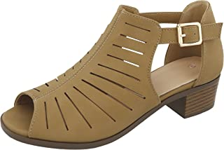 Cambridge Select Women's Open Toe Caged Laser Cutout Buckle Chunky Low Heel Ankle Bootie