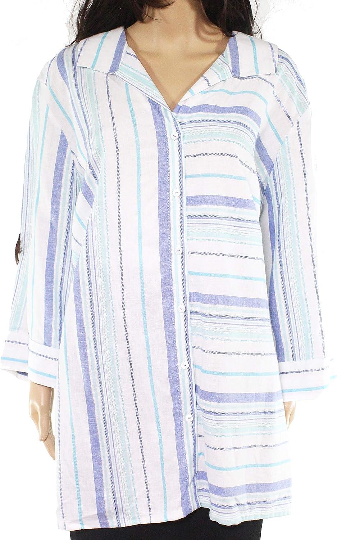 Foxcroft Women's Blouse Plus Stripe Button Down Shirt Blue 18W
