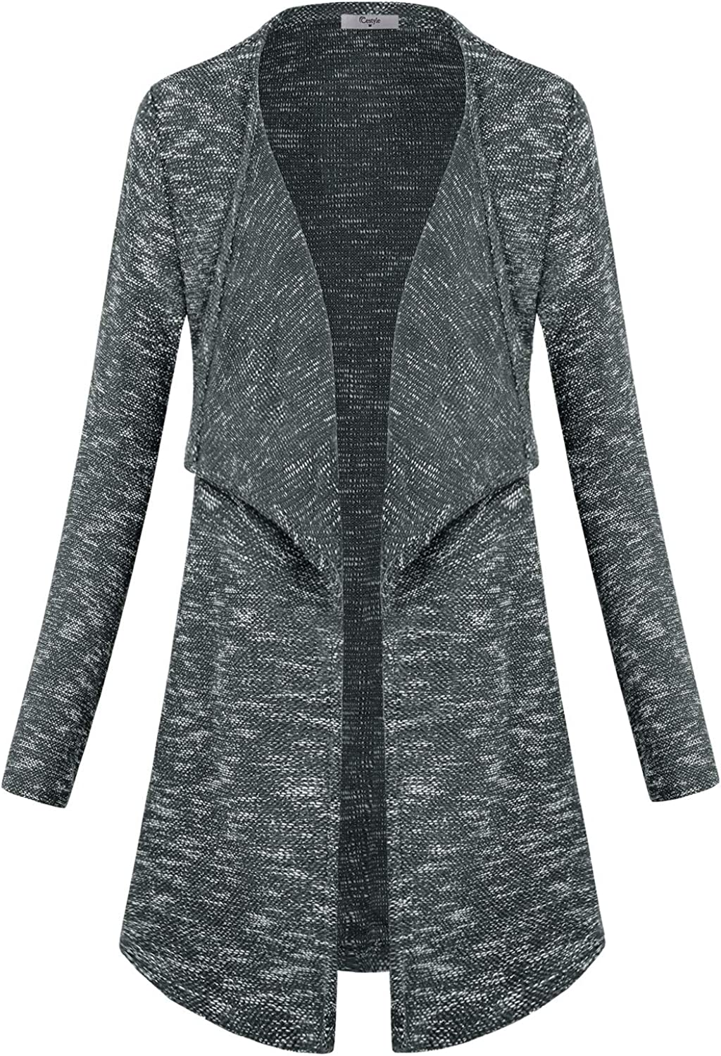 Cestyle Long Sleeve Coat Lapel Neck Open Front Waterfall Cardigan with Pockets
