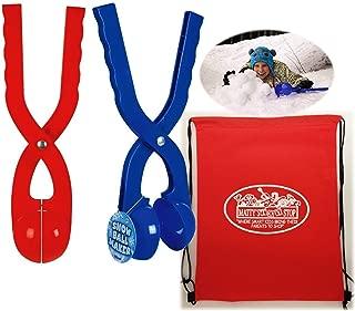 Toysmith Snowball Maker (SNO-Ball) Blue & Red Gift Set Bundle with Bonus Matty's Toy Stop Storage Bag - 2 Pack