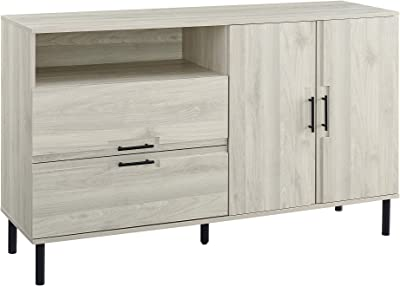 Walker Edison Furniture Company Modern Detailed Cabinet Door and 2 Drawer Storage Sideboard Buffet, 56, Birch 141[並行輸入]