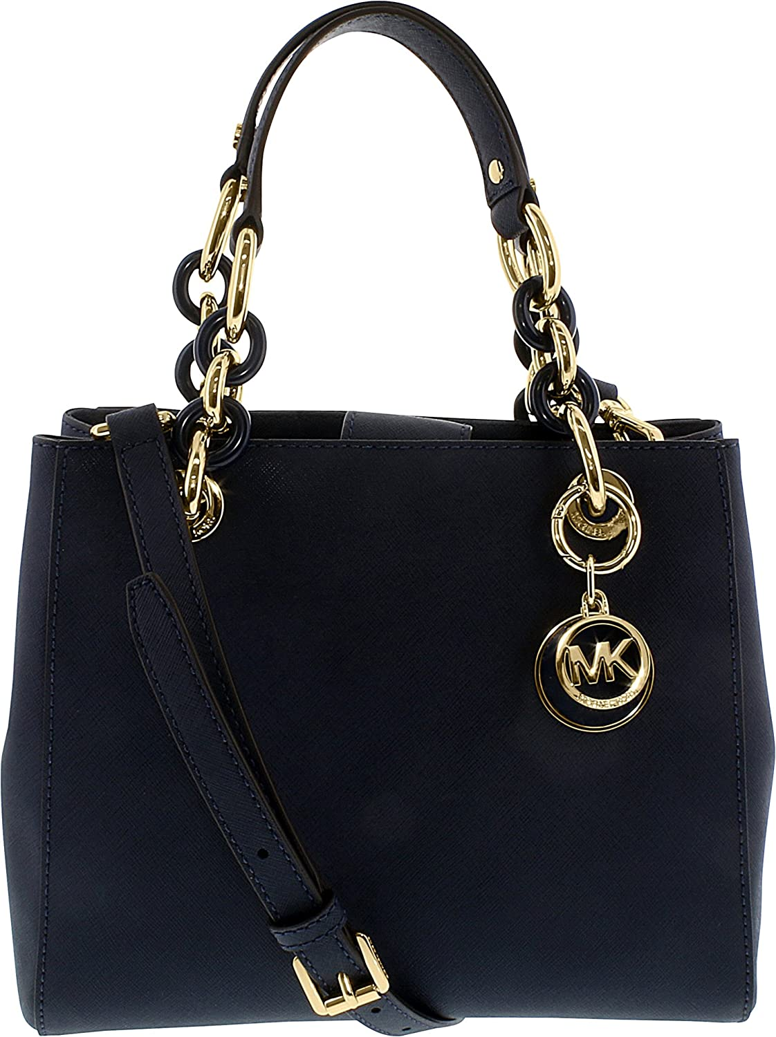 Michael Kors Cynthia SMALL Leather Satchel in NAVY
