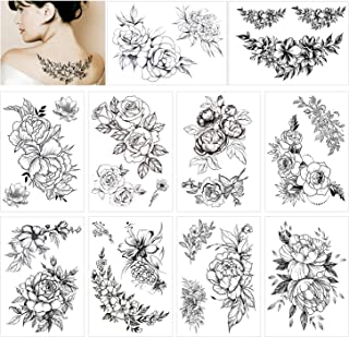 HOWAF 10 Blatt Groß Schwarz Rose Blume Temporäre Tattoos F