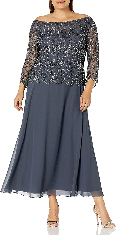 J Kara Women's Size 3/4 Scallop Beaded Pop Over Gown Plus