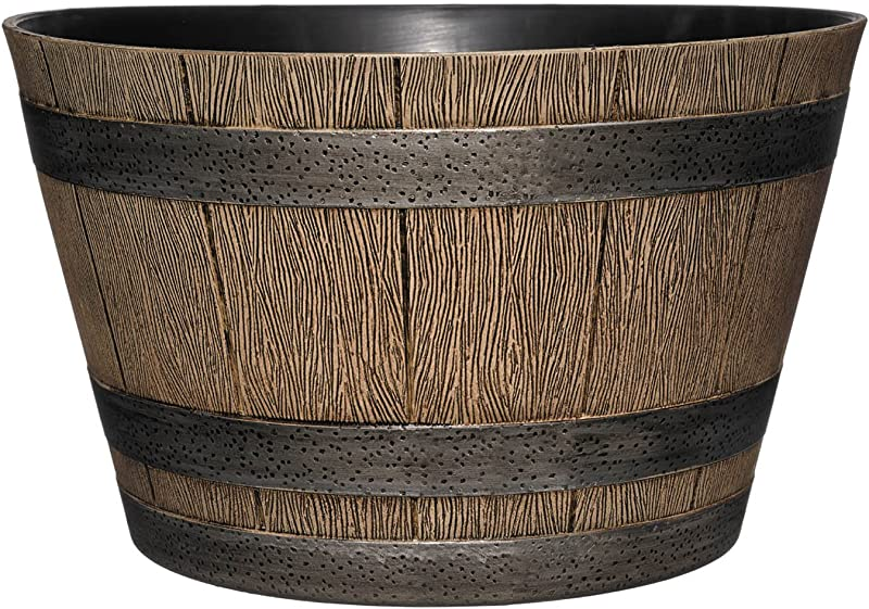 Classic Home And Garden HD1 1027 DisOak Whiskey Barrel 20 5 Distressed Oak