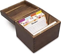 AKND Gourmet Acacia Wood Recipe Box complete with Dividers, Blank Recipe Cards and a Measure Conversion Guide For Those Sp...