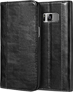 Procase Galaxy S8 Plus Genuine Leather Case, Vintage Wallet Folding Flip Case with Kickstand and Multiple Card Slots Magnetic Closure Protective Cover for Galaxy S8+ 2017 -Black
