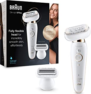 Braun Silk-épil 9 Flex 9-002, Epilator with Flexible Head, Anti-Slip Grip and Pressure Control for Effortless Hair Removal, Cordless Wet and Dry Epilation, Shaver Head, Wide Head with 40 Tweezers
