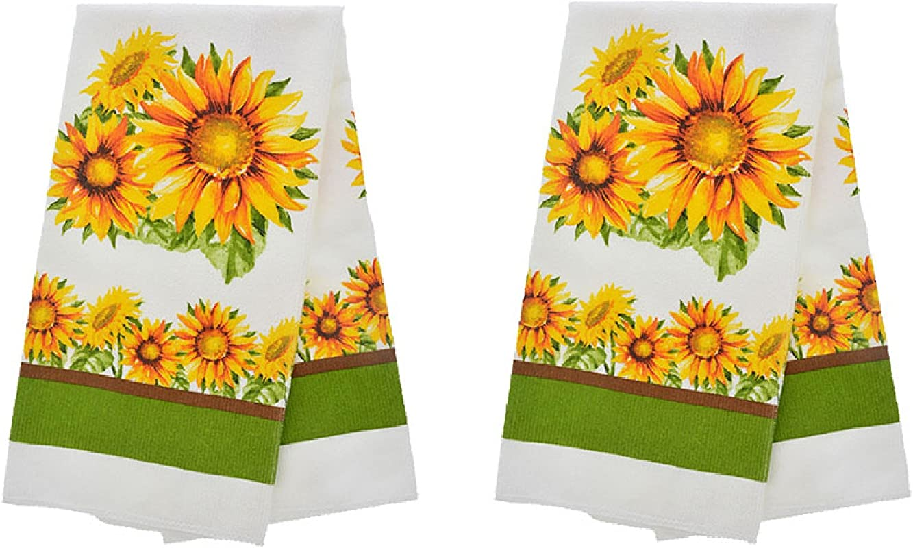 Set Of 2 Sunflowers Print Design Kitchen Hand Dish Towels