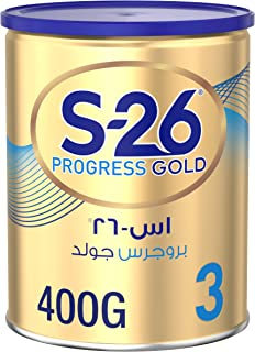 Wyeth Nutrition S26 Progress Gold Stage 3, 1-3 Years Premium Milk Powder Tin for Toddlers, 400g, Pack of 1