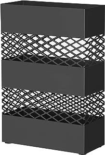 SONGMICS Metal Umbrella Stand, Rectangular Umbrella Holder Rack, with Removable Drip Tray, Lattice Cutouts, Black ULUC02BK