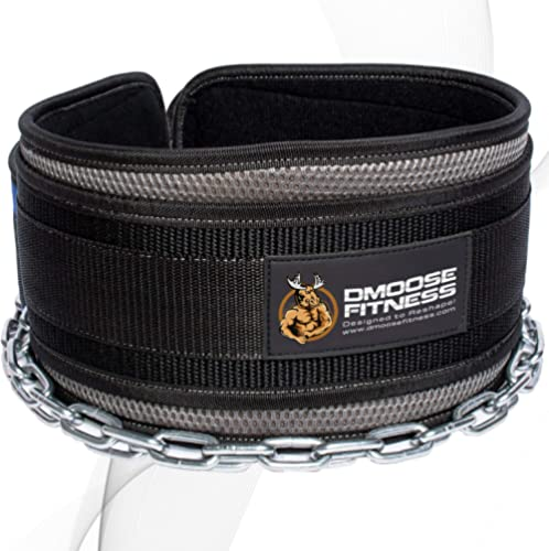 DMoose Fitness Dip Belt with Chain for Weightlifting, Pullups, Powerlifting, Crossfit, and Bodybuilding Workouts, Lon...