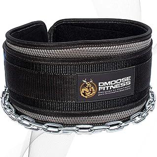 Maximisez vos exercices de musculation et de musculation avec ceinture de d/étritus durable doublure double Cha/îne en acier robuste de 36 po n/éopr/ène Comfort Fit Premium dipping ceinture avec cha/îne par DMoose Fitness