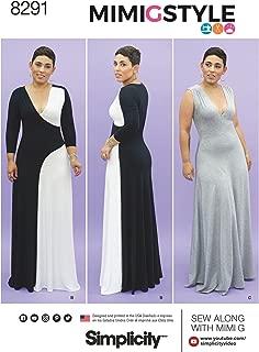 Simplicity Pattern 8291 BB Mimi G Style Misses'/Women's Floor Length Knit Dress, Size BB (20W-22W-24W-26W-28W)