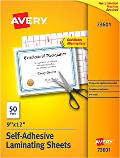 "Avery Self-Adhesive Laminating Sheets, 9"" x 12"", Box of 50, Case Pack of 10 (73601)"