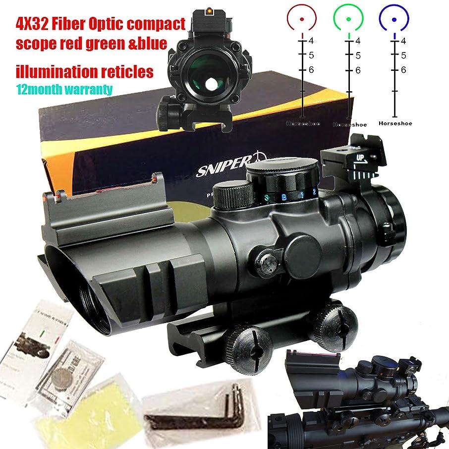 Sniper Tactical 4x32 Prismatic Glass Crosshair Reticle Scope w/ Fiber Optic Sight