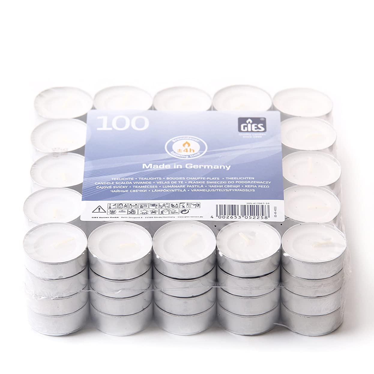 手錠適度に軽食2 Hour Unscented White Tea Lights (Pack of 100)