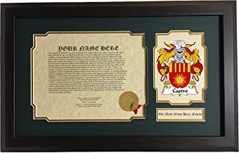 Castro - Coat of Arms and Last Name History, 14x22 Inches Matted and Framed