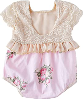 Baby Girl Lace Romper Backless Ruffle Floral Onesie...