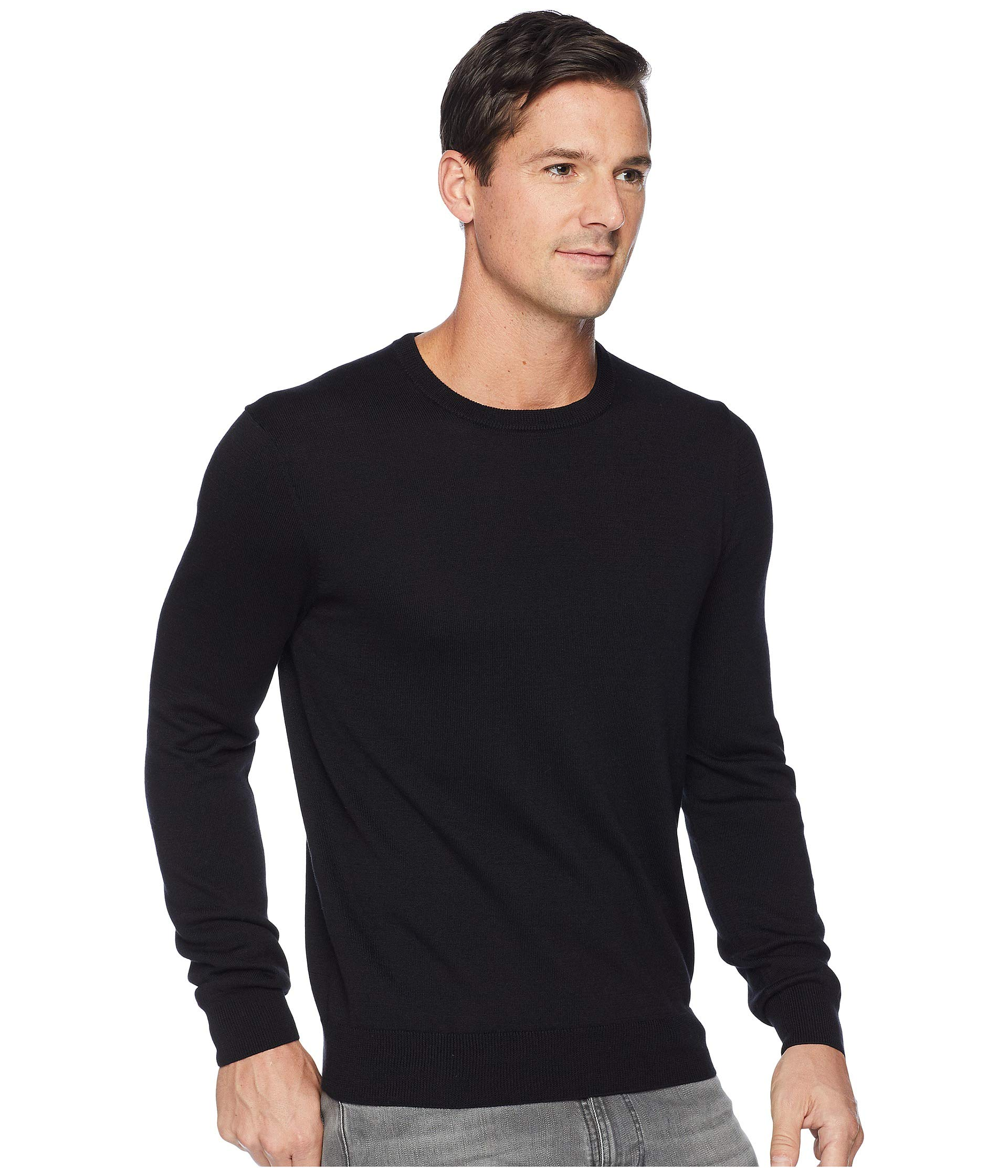 Ellis Crew Neck Jersey Knit Black Sweater Perry 0qTdW