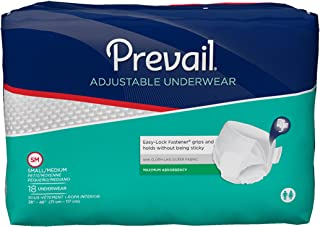 Prevail Maximum Absorbency Adjustable Incontinence Underwear Small/Medium 18 Count (Pack of 4) Breathable Rapid Absorption Discreet Comfort Fit Adult Diapers