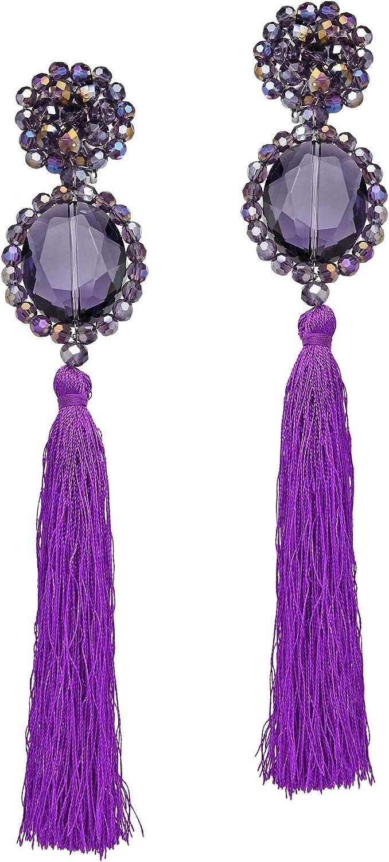 Dramatic Statement Purple Fashion Crystal & Cotton Tassels Dangle Clip On Earrings