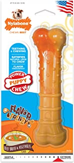Nylabone Puppy Power Textured Nylon Puppy Chew Toy Beef Broth & Vegetables Large