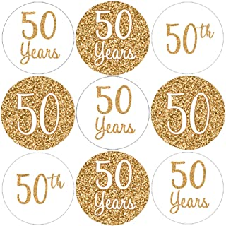 Gold 50th Anniversary Party Favor Stickers - 180 Count