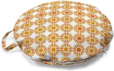 Ambesonne Floral Round Floor Cushion with Handle, Digitally Illustrated Pattern with Monochrome Abstract Flowers, Decorative