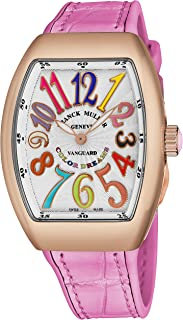 Franck Muller Vanguard Color Dreams Womens 18K Rose Gold Swiss Quartz Watch Tonneau Silver Face with Luminous Hands and Sapphire Crystal - Pink Leather/Rubber Strap Ladies Watch V 32 SC at FO COL DRM