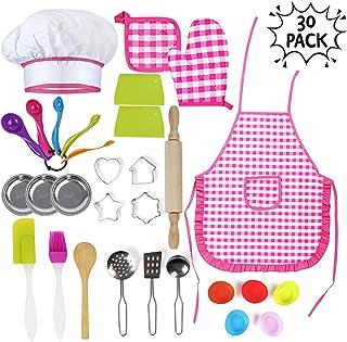 Juguetes de Chef para Niños 30 Piezas   Incluye Accesorios de Cocinero   Gorro Delantal Guantes y Utensilios   Regalos de Juegos de Cocina para Niñas y Niños para Navidad