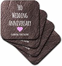 3dRose CST_154430_2 3rd Wedding Leather Celebrating 3 Years Together Third Anniversaries Three Years Soft Coasters, Set of 8