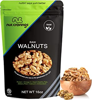 Nut Cravings California Raw Walnuts – 100% All Natural Shelled Halves and Pieces – 16 Ounce