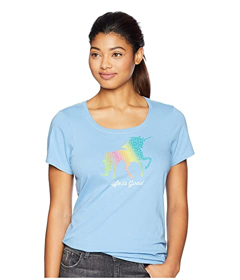 3429aed3cc4 Life is Good Rainbow Unicorn Crusher Scoop Neck T-Shirt at Zappos.com