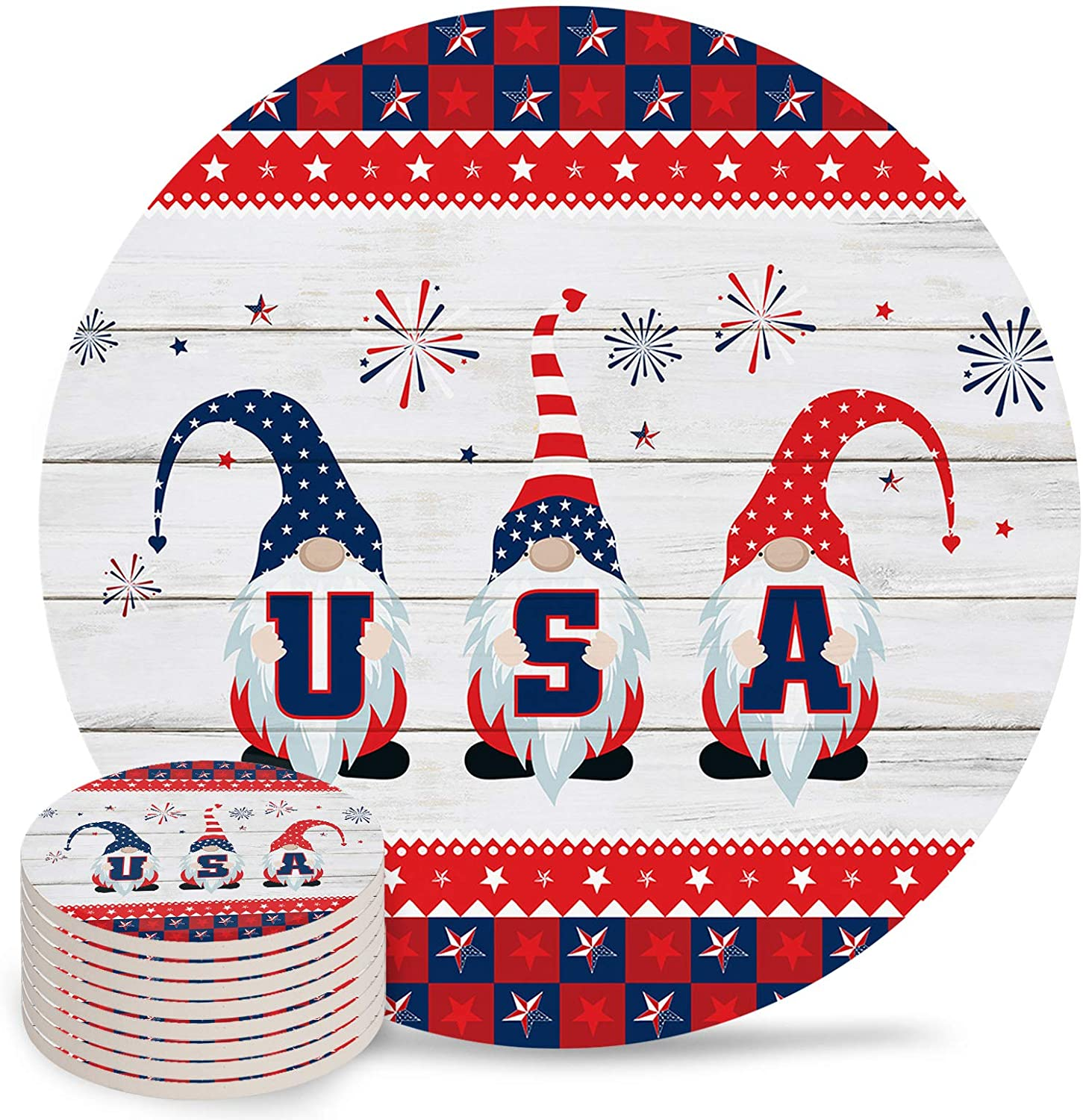 Independence Day Coasters for Drinks American Gnomes Inventory cleanup selling sale 67% OFF of fixed price Abs Cartoon